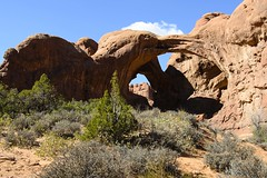 Double Arch (rschnaible) Tags: park blue red sky usa southwest west rock landscape outdoors utah us sandstone day desert outdoor scenic sunny arches scene erosion clear national western geology geologic