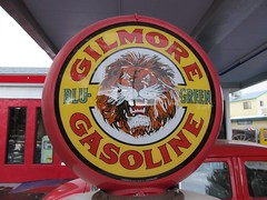 Gilmore Gasoline Station Pump Colorful Display (chicbee04) Tags: roof red vacation arizona usa rain sign vintage classiccar automobile shiny colorful closed downtown rainyday display tiger plymouth gasstation cottonwood restored gasoline oldtown gaspump 2012 southwestern gilmore route89a vacation2012 vintagegilmoregasstationdowntowncottonwoodarizona bingsburgherstation