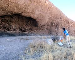 045 Vasquez Cave Control (saschmitz_earthlink_net) Tags: california cliff control orienteering cave runner 2012 rockformation aguadulce vasquezrocks losangelescounty laoc losangelesorienteeringclub
