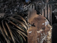 Burn Architectural (Sea Moon) Tags: composition trash found fire rope textures cardboard burnt burned corrugated blackened