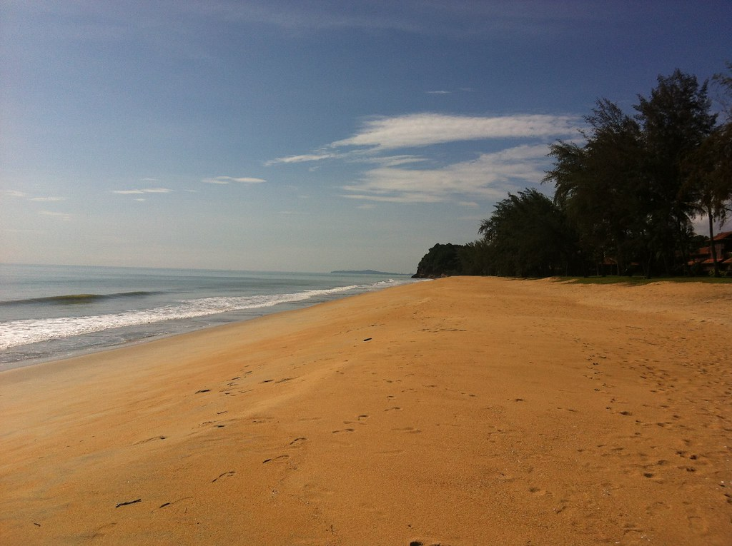 Looking south on the Club Med beach, Cherating, Malaysia