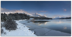 "Maligne Lake in Winter... (Joalhi ""Back in Miami"") Tags: winter panorama lake canada mountains jasper alberta usm malignelake ef35mm f14l coth5"