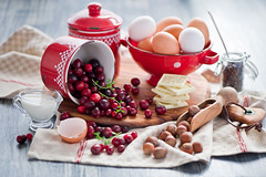 Baking with cranberries (The Little Squirrel) Tags: red food white photography baking chocolate cranberry ingredients foodphotography nikond700