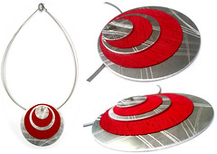 Angeles Flor jupiter necklace in red (Ans Designs) Tags: textilejewellery angelesflor aluminiumjewellery ansdesigns