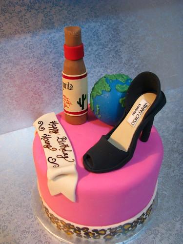 Personalized birthday cake for world-traveller/ designer shoe-lover/ Tequila drinker!