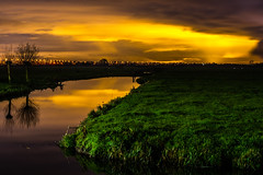 Orange Night (Joeri Kemp) Tags: sky orange color colour green water grass night river landscape highway long exposure view ditch saturation coloursinourworld flickraward ringexcellence dblringexcellence