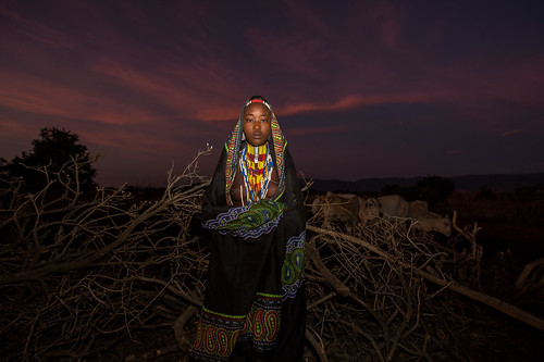 portrait of a girl tribe Erbore at sunset