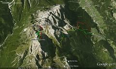 Google Earth 3D (vista E) (Emanuele Lotti) Tags: italy mountain alps montagne trekking italia creta agosto monte gps 29 alpi montagna 2012 cima monti rifugio sappada veneto vallon siera forcella escursionismo traccia carniche forata