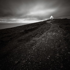 Pinnacle (Andy Brown (mrbuk1)) Tags: ocean longexposure sea cloud detail building texture contrast square landscape mono blackwhite cornwall track moody path hill ground lookout hut coastal rise slope headland splittone tonality neutraldensity nd110