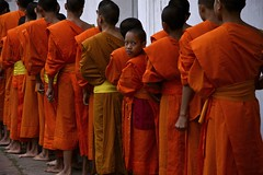 Monks Collecting Alms In Luang Prabang (El-Branden Brazil) Tags: asian asia southeastasia rice buddhist religion buddhism monks tradition custom spiritual laos luangprabang robes offerings alms laotian