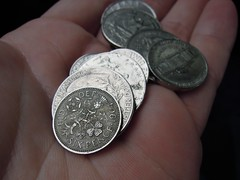 Six Pence Coin from 1964 in Pocket Change_DSCN5729c (Wampa-One) Tags: flowers england money macro english floral rose design coin symbol coins thistle latin symbols leek shamrock 1964 symbolism coinage luckycharm sixpence pocketchange goodluckcharm britishcoin defenderofthefaith fiddef fideidefensor