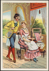 """George! Come into the garden Maud"""" Maud! Wait George until I finish these clothes it won't take three minutes with this new Empire Wringer. [front] (Boston Public Library) Tags: laundry adults appliances advertisingcards"""