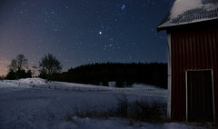 Cold Night (Peddans) Tags: trees sky snow cold field silhouette night barn stars landscape sweden freezing swedish astronomy vstra gtaland sjuhrad