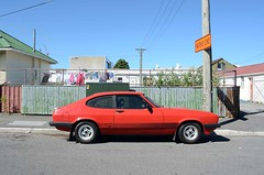 1983 Ford Capri (stephen trinder) Tags: road street new red christchurch ford car landscape capri zealand nz eighties 1980s coupe