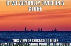 If We Actually Lived On A Globe (ipressthis) Tags: sun moon chicago plane globe truth flat god earth michigan space yang dome reality bible curve yinyang yin universe hoax curvature flatearth nocurve
