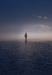 Walking to eternity (naturalminer) Tags: girl eternity walk walking heaven hell lake sea water sky clouds