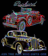 Ask The Man Who Owns One (crimsontideguy) Tags: packard neon advertising art automobiles cars classiccars calssicautomobiles photoshop signs graphics graphicart night transportation lights history travel