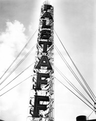 Vintage neon sign construction (jericl cat) Tags: vintage neon sign photo historic old advertising ad roadside signage photography industrial electric magazine street neworleans louisiana rooftop scaffold pylon tower beer homeof