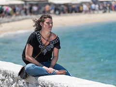 Beauty on the Seawall (Ron Scubadiver's Wild Life) Tags: girl woman nikon 70300 candid street style outdoors mykonos greece sea blue denim tattoos