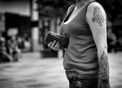 More Hearts (Just Ard) Tags: woman tattoo owl hand purse hearts people person face street photography candid unposed black white mono monochrome bw blackandwhite noiretblanc biancoenero schwarzundweis zwartwit blancoynegro  justard nikon d750 85mm