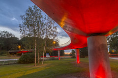Red bridge Mrsta Sweden (Stefan Sjogren) Tags: red bridge mrsta sigtuna sweden sverige bro kvll evening twilight architecture uppland europe award sky clouds suburb stockholm pedestrian spot light