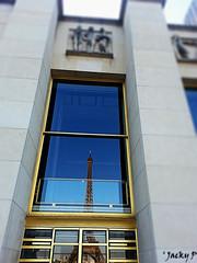 Reflections in the windows (Pierrot 49) Tags: tour eiffel paris windows france blue