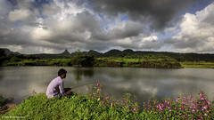 Some Days Are Meant For Fishing (Neha & Chittaranjan Desai) Tags: fishing lake mountains clouds cloudscapes sky people india maharashtra photography flowers balsam