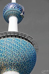 Kuwait towers - kuwait city - 2013 canan 1100D - 18-200mm Black and white with blue (abdullahh96596) Tags: eos views decorations flickr q8 love qatar dubai usa london blue color exploring explore week 18200mm 1100d canon kuwaitcity kuwait blackandwhitewithcolor photoshop photographers photographer social cityscape city world towers kuwaittowers