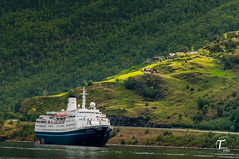 Tor Magnus Anfinsen-000166 (Tor Magnus Anfinsen) Tags: farm marco polo ship cruise norge norway fjord sognefjord green hill mauntains water blue trees rays sun nikon