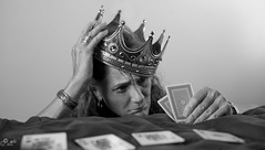 Royal frustration (Catching_alchemic light) Tags: self selfportrait crown queen royalty royal frustration cards poker king ace hold em texasholdem game face bracelet hand pair