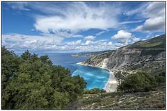Myrtos Beach Kefalonia (Michael Neeven) Tags: myrtos mytos beach strand kefalonia cefalonia griekenland greece griechenland 2016 clouds blue blauw wolken blau view uitzicht assos asos