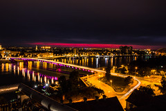 Magical Novi Sad from the fortress - night view (piashdas) Tags: sky skyline reflection city cityscape river travel night nightscape light clouds cloud europe urban architecture lights trail bridge building longexposer violet color colour colorful streetlights danube serbia magical novisad twilight
