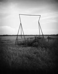 Emptiness (lancekingphoto) Tags: field signage abandoned country grass blackandwhite bwfp fppdebonair toycamera 120film mediumformat expiredfilm kodakplusx125 xtol