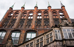 2016 - Baltic Cruise - Lbeck Germany - Town Hall Spires (Ted's photos - For Me & You) Tags: 2016 cropped germany lubeck tedmcgrath tedsphotos vignetting lbeckgermany lubbocktownhall spires arches unesco unescoworldheritagesite