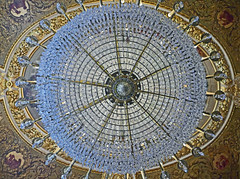 Crystal chandelier below richly ornamented ceiling - Quai d'Orsay, Paris (Monceau) Tags: quaidorsay paris chandelier blue ceiling ornate underneath lookingup