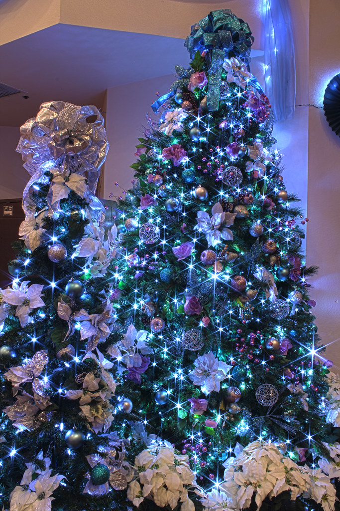 silver purple and blue themed christmas tree in led lights mastery of maps