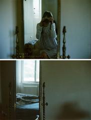 (e n y o u) Tags: morning light film girl self 35mm vintage mirror bed lomography soft room 400 canonat1