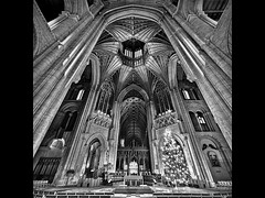 Ely Lantern Tower (PhotoJunket) Tags: christmas bw church ely cambridgeshire octagon elycathedral lanterntower vertorama theshipofthefens