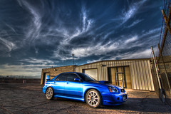 An STi named Bruiser (chuckrim) Tags: auto las vegas blue winter sky car clouds race desert lasvegas awesome rally fast automotive subaru bruiser beast wrx sti legit