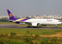 HS-TJG Boeing 777-2D7 Thai Airways Lined Up for Take Off (Faisal Akram Ether) Tags: up for airport off international thai take dac dhaka boeing airways lined hazrat shahjalal hstjg vghs 7772d7
