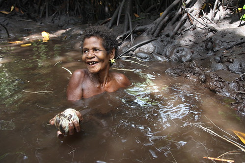 Digging mud for shells in Malaita, Solomon Islands. Photo by Wade Fairley, 2012.