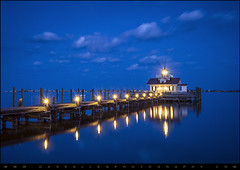 Roanoke Marshes Lighthouse Manteo NC - Blue Hour Reflections (Dave Allen Photography) Tags: nightphotography blue lighthouse night landscape photography lights evening nc nikon northcarolina roanoke bluehour outerbanks obx daveallen marshes manteo carolinas screwpile d700 roanokemarshes