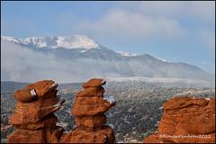A Snow Covered Pikes Peak (RondaKimbrow) Tags: winter mountain snow clouds gardenofthegods pikespeak siamesetwins rockformation httprondakimbrowphotography500pxcomlandscapes mynewsnowbootskeptmytoestoasty