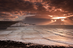 Seven Sisters winter sunrise with crepuscular rays (JamboEastbourne) Tags: park winter england cliff seascape haven sisters sunrise sussex chalk east national seven rays crepuscular cuckmere