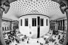White At The Museum (Sean Batten) Tags: city uk roof england blackandwhite bw london museum architecture nikon cityscape tourists fisheye britishmuseum lattice d90