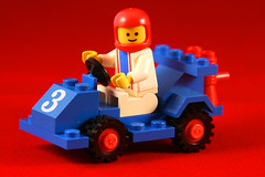Day 340 - Lego toy car (Ben936) Tags: blue red car toy three model lego bright wheels plastic colourful tyres bold racingcar buildingblocks crashhelmet constructionkit buildingbricks