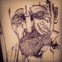Markmaking (giselle157) Tags: old man black art college fun major sketch eyes ancient closed drawing awesome visualarts best class wise sharpie draw wisdom markmaking uploaded:by=flickrmobile flickriosapp:filter=nofilter
