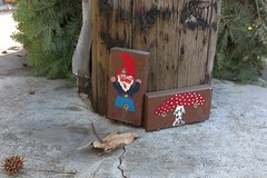 Telephone Pole Gnome and Toadstool (and discarded Christmas tree) (delight.1027) Tags: oakland gnome january telephonepole 2013