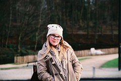 teddy bear (marta swarley) Tags: bear winter brussels green girl hat forest 35mm canon lens eos model bokeh bruxelles sigma analogue atomium rayban 2012 500n canon500n 2013 tumblr istillshootfilm
