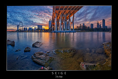 Seige (draken413o) Tags: bridge sunset panorama by architecture garden bay singapore cityscape skyscrapers east benjamin hdr fiery waterscape sheares